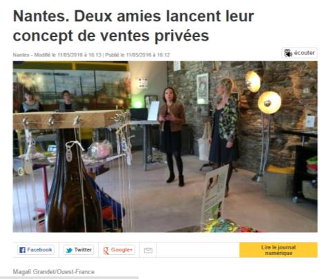 Article Ouest France mai 2016