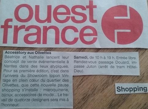 Parution Ouest France - 23 avril 2016